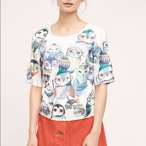 Anthropologie Watercolor Owl Blouse Medium